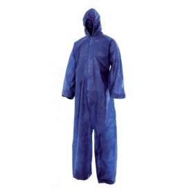 "Disposable Plastic Coverall ""TST"" PP Hood Zipper Size L Blue (50 Units)"