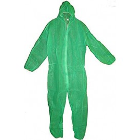 "Disposable Plastic Coverall ""TST"" PP Hood Zipper Size L Green (50 Units)"