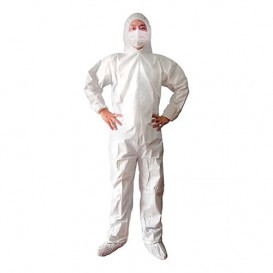 "Disposable Plastic Coverall ""TST"" PP Hood Zipper Size M (1 Unit)"