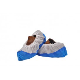 Disposable Plastic Shoe Covers with Reinforce Sole TST PP CPE Blue (500 Units)
