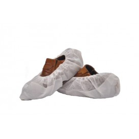 Disposable Plastic Shoe Covers with Reinforce Sole TST PP CPE White (500 Units)