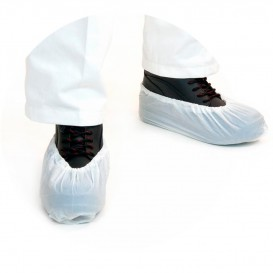 Disposable Plastic Shoe Covers PE G80 White (100 Units)