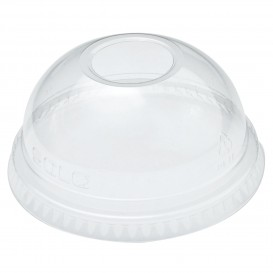 Plastic Dome Lid with Hole PET Crystal Ø7,8cm (100 Units)
