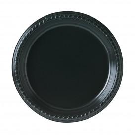 Plastic Plate Party PS Flat Black 23 cm (25 Units)
