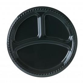 Plastic Plate Party PS Flat Black 3C 26 cm (25 Units)