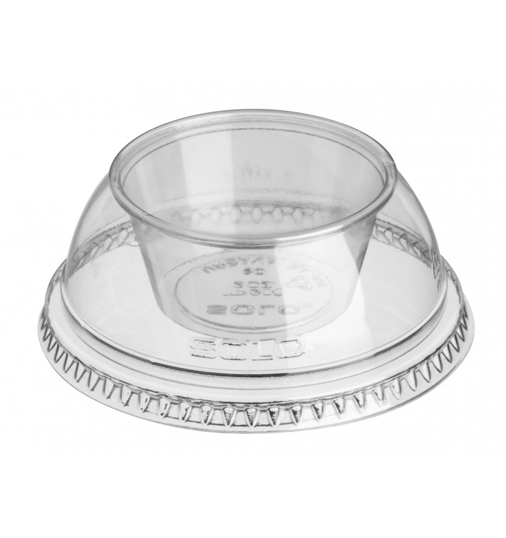 "Plastic Lid with Portion Cup PET Crystal ""Dress"" Ø9,2cm (500 Units)"