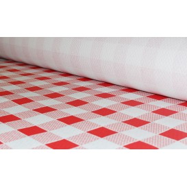 Paper Tablecloth Roll Red Checkers 1x100m. 40g (6 Units)
