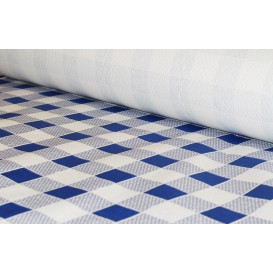 Paper Tablecloth Roll Blue Checkers 1x100m. 40g (6 Units)