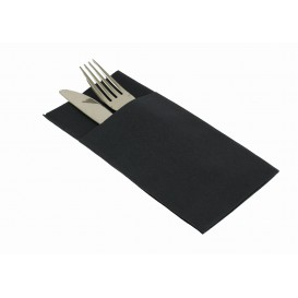 Pocket Fold Paper Airlaid Napkins Kanguro Black 33x40cm (30 Units)