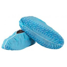 "Disposable Plastic Shoe Covers ""TST"" Anti-Slip Blue (100 Units)"