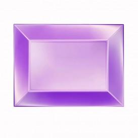"Plastic Tray Microwavable Violet ""Nice"" 28x19cm (12 Units)"