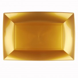 "Plastic Tray Microwavable Gold ""Nice"" 34,5x23cm (6 Units)"