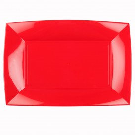 "Plastic Tray Microwavable Red ""Nice"" 34,5x23cm (6 Units)"