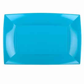 """Plastic Tray Microwavable Turquoise """"Nice"""" 34,5x23cm (6 Units)"""