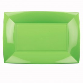 """Plastic Tray Microwavable Lime Green """"Nice"""" 34,5x23cm (6 Units)"""