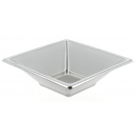 Plastic Bowl PS Square shape Silver 12x12cm (25 Units)