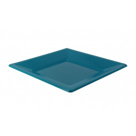 Plastic Plate Flat Square shape Turquoise 17 cm (25 Units)
