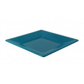 Plastic Plate Square shape Flat Turquoise 23 cm (750 Units)