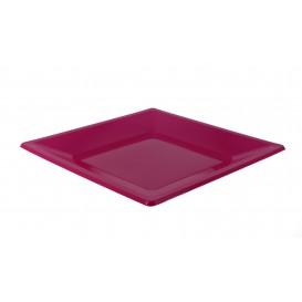 Plastic Plate Flat Square shape Fuchsia 23 cm (180 Units)
