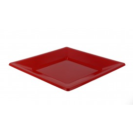 Plastic Plate Flat Square shape Red 23 cm (3 Units)