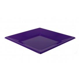 Plastic Plate Flat Square shape Lilac 23 cm (3 Units)