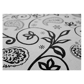 "Pre-Cut Paper Tablecloth ""Cachemir"" Black 37g 1x1m (400 Units)"