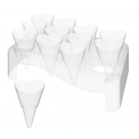 """Plastic Serving Cones with Serving Cone Holder """"Love"""" 50ml 18x26cm (4 Kits)"""