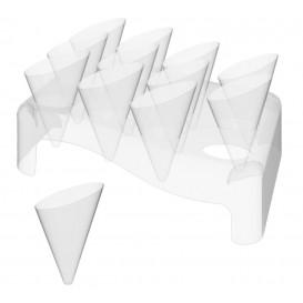 "Plastic Serving Cones with Serving Cone Holder ""Slice"" 55ml 18x26cm (5 Units)"