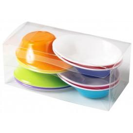 """Plastic Bowl PS """"Sodo"""" White and Multicolor 50 ml (8 Units)"""