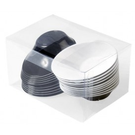 "Plastic Bowl PS ""Sodo"" White and Black 50 ml (20 Units)"