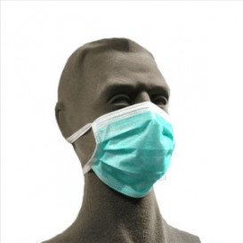 Disposable Surgical Mask Triple layer Rectangular Shape Green (1.000 Units)