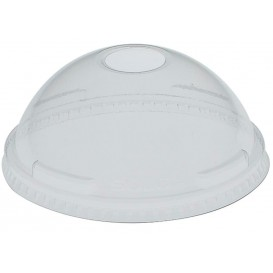 Plastic Dome Lid with Hole PET Crystal Ø10,7cm (500 Units)