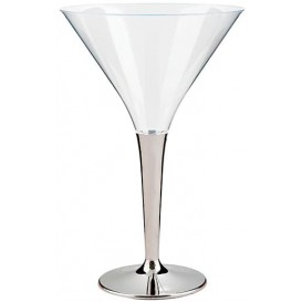 Plastic Stemmed Glass Cocktail Silver 100 ml (6 Units)