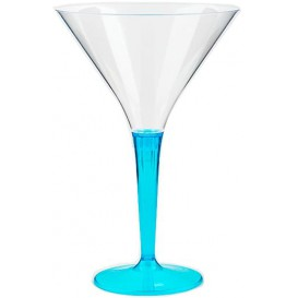 Plastic Stemmed Glass Cocktail Turquoise 100 ml (6 Units)