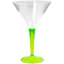 Plastic Stemmed Glass Cocktail Green 100 ml (6 Units)