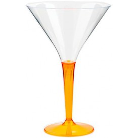 Plastic Stemmed Glass Cocktail Orange 100 ml (6 Units)