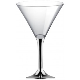 Plastic Stemmed Glass Cocktail Silver Chrome 185ml 2P (40 Units)