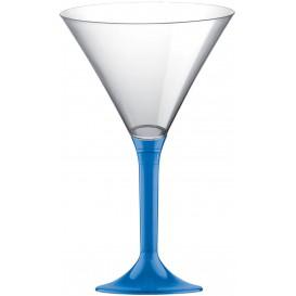 Plastic Stemmed Glass Cocktail Blue Clear 185ml 2P (40 Units)
