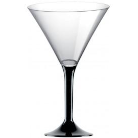 Plastic Stemmed Glass Cocktail Black 185ml 2P (40 Units)