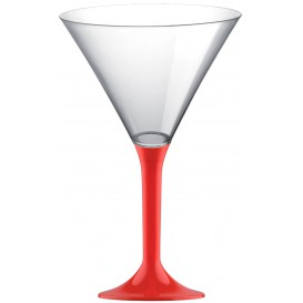 Plastic Stemmed Glass Cocktail Red 185ml 2P (200 Units)
