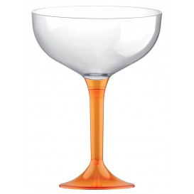 Plastic Stemmed Flute Orange Crystal 200ml 2P (200 Units)