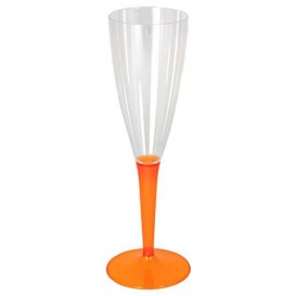 Plastic Stemmed Flute Sparkling Wine Orange 100ml (72 Units)
