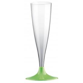 Plastic Stemmed Flute Sparkling Wine Lime Green 140ml 2P (20 Units)