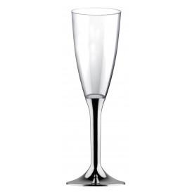Plastic Stemmed Flute Sparkling Wine Silver Chrome 120ml 2P (40 Units)