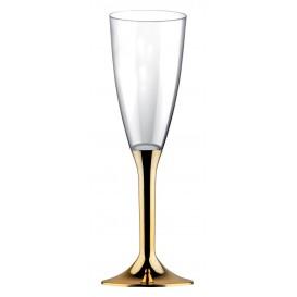 Plastic Stemmed Flute Sparkling Wine Gold Chrome 120ml 2P (40 Units)