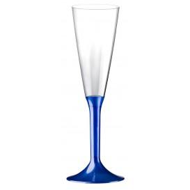 Plastic Stemmed Flute Sparkling Wine Blue Pearl 160ml 2P (40 Units)