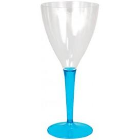Plastic Stemmed Glass Wine Turquoise 130ml (6 Units)