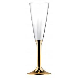 Plastic Stemmed Flute Sparkling Wine Gold Chrome 160ml 2P (40 Units)