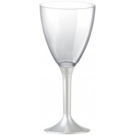 Plastic Stemmed Glass Wine White Pearl Removable Stem 180ml (40 Units)
