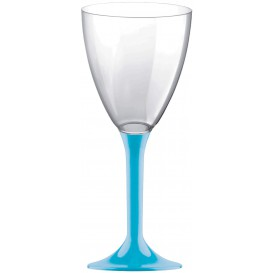 Plastic Stemmed Glass Wine Turquoise Removable Stem 180ml (40 Units)